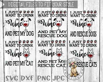 BUNDLE Drink wine Cat, Dog - svg, dxf, png, jpg - pet my, rescue, paw print, heart , Cricut, Studio Cutable file