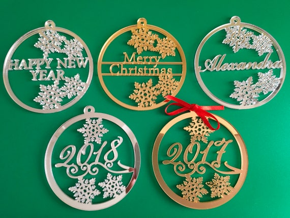 Personalised Christmas Bauble Xmas name ornament 2017 2018 gift tag Personalized Christmas gifts Merry Christmas Happy New Year