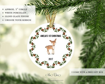 Baby Deer Baby's First Christmas Ornament | Newborn Ornament | Baby's First Christmas | Christmas Gift | Newborn Christmas | Name Ornament