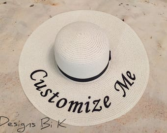 Personalized straw hat, Monogrammed hat, Embroidered straw hat, Personalized sun hat, Something blue for bride, Beach hat, Personalized gift