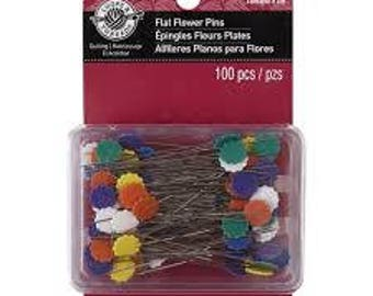 Loops & Threads™ Flat Flower Pins  - 2 in