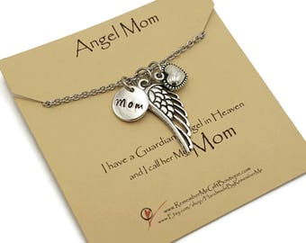 Angel Mom, Memorial Necklace, Memorial Gift Idea, Remembrance Jewelry, Sympathy Jewelry, Loss of Mother, Sympathy Gift, Loss of Mum