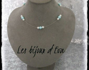 White and turquoise beads wire necklace