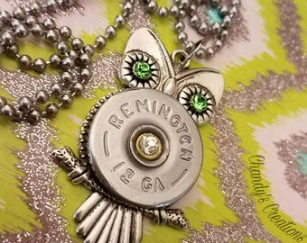 Owl Necklace, Shotgun Shell, Jewelry, Bullet, Necklace, Unique, Birthstone, Personalized, Custom Necklace, Bullet Jewelry, Owl Charm, Silver