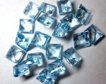 Lot Of 5 Piece Sky Blue Topaz square cut faceted loose gemstone for jewelry