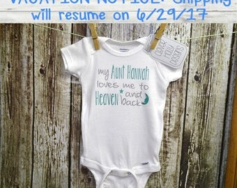 """Baby Gift From Aunt - """"My Aunt Loves Me To Heaven & Back"""", Personalized Aunt Onesie (long sleeve or short sleeve)[Niece Aunt baby gift idea]"""