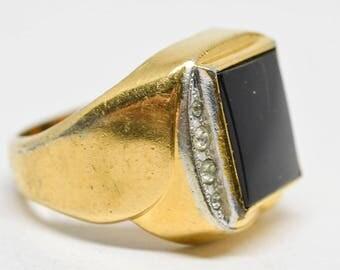 Large goldand black tone men's ring