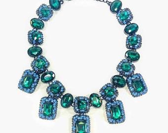 Hollywood Legend - Green & Blue Statement Necklace