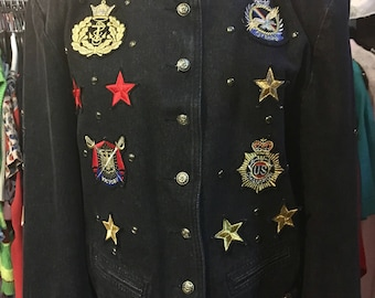 1990' black denim jacket, sewn with labels, shoulder pads. Size M/L.