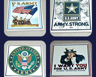 US Army Coasters -Military gifts - US Army gifts - Armed Forces gifts - Military Coasters - Tile Coasters  - Army Gifts - Army Coasters