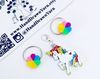 Rainbow Unicorn and her Unicorn Poop Knitting Stitch Markers. Crochet Progress keepers. Gift for knitters, crocheters, unicorn gift.