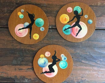 Set of Three Coasters / Vintage Barware Drinkware / Ballet Dancer Coaster