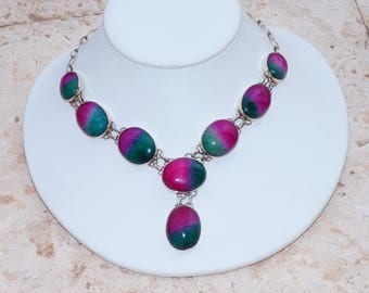 Amazing All Natural Watermelon Agate Set in 925 Solid Sterling Silver Necklace