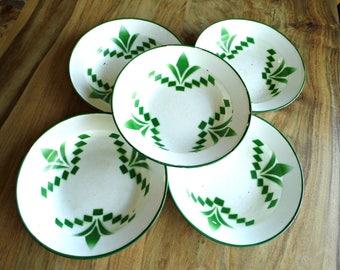 Set 5 Vintage Enamel Plate Antique Enamelware Metal Rustic Soup Plate White Green Graniteware Primitive Cottage Kitchen Decor Yugoslavia