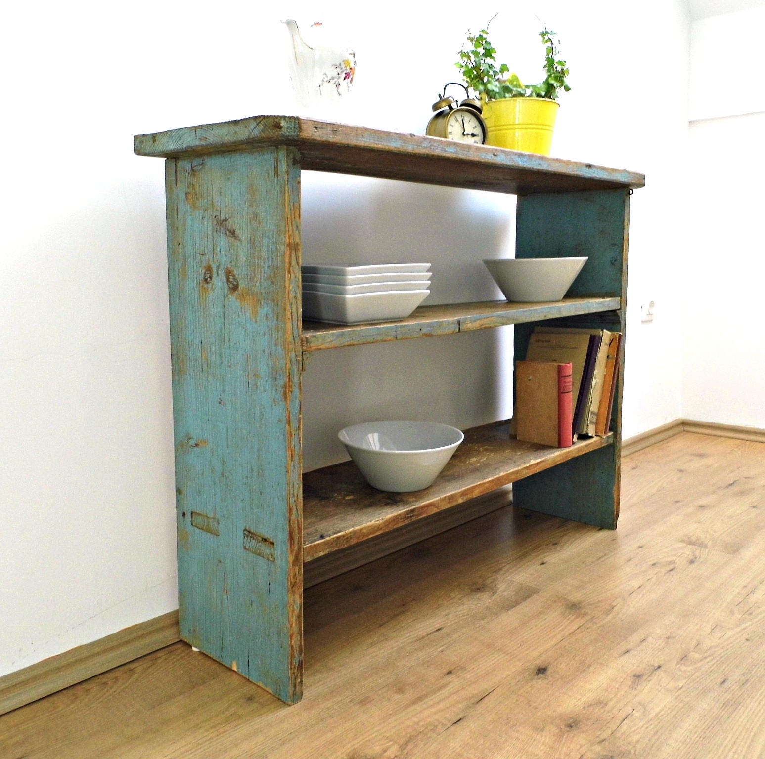 Antique Rustic Console Table Narrow Vintage Blue Side Table