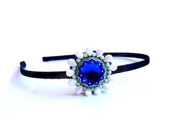 Serre-tête marine décor fleur en perles brodées