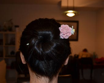 Rose hair stick chinese hair stick bun maker hand painted porcelain hair stick pink rose flower hair maker hair accessary crystal hair