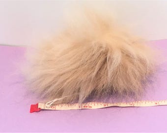 Natural beige angora rabbit fur Pompom