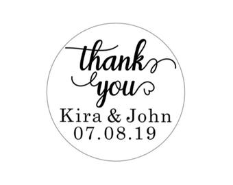Personalized Thank You Stickers - Wedding Thank You Stickers- Baby Shower Thank You Stickers- Craft Stickers - White Stickers