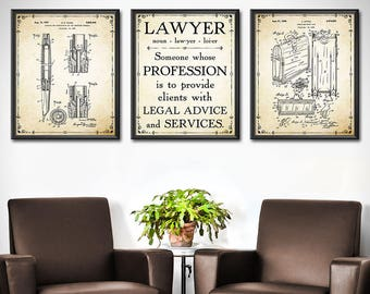 Marvelous Lawyer Office Decor   SET OF 3   Lawyer Office Art Print   Lawyer Art Gift