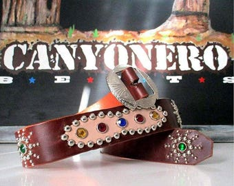 Classic Ameba-shaped Western Rockabilly Studded and Jeweled belt.