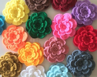 Lot 12 pcs Crochet Flowers Handmade Applique 3 layers, 7 petals, Embellishment sewing in multi-color size 2.75 ""