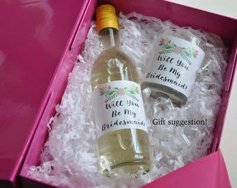 Will you be my bridesmaid? Bridesmaid wine label. Bridesmaid candle label. Bridesmaid gift. Maid of honour honor gift. Bridesmaid proposal.