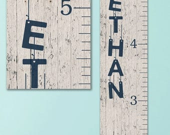 Wooden Ruler Growth Chart - Canvas Personalized Growth Chart, Wooden Height Ruler, Personalized Baby Boy Gifts, Growth Chart Boy - GC0100N