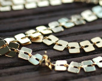 3.2Foot/1M 24k Gold Plated Square Chain,Brass Disc Sequin Chain, Special Chain, Metal Chain for Choker, High Quality