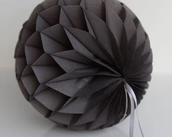 Dark gray / grey Tissue paper honeycomb ball-hanging wedding party decorations-paper lantern-birthday decor-round paper ball-nursery decor