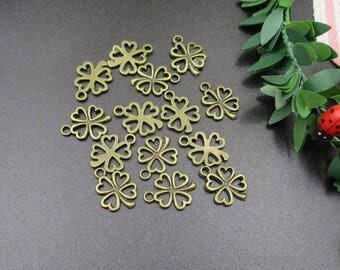 20PCS 14x17mm Bronze Four Leaf Clover Charms-p1276-A