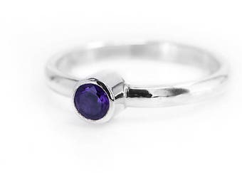 Amethyst Ring   Silver Gemstone Ring   Amethyst Jewellery   Sterling Silver Ring   February Birthstone ring   925 Silver Stacking Ring