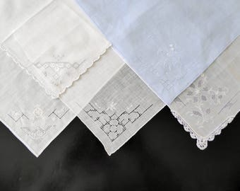 Five vintage white handkerchiefs with embroidered trim #111
