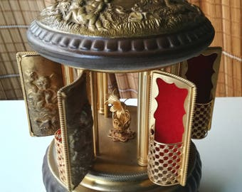 Reuge music box brass gesso stragers in the night Swiss made 1950s