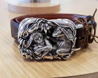 Super Rare Kieselstein Cord Sterling Silver Monkeys Large Belt Buckle 1999