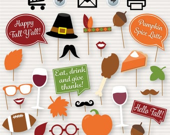 Fall Party Printable Photo Booth Props - Fall Party - Fall Photobooth Props - Thanksgiving Props -  INSTANT DOWNLOAD - Party Printable