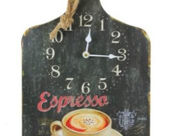 coffee wall clock, kitchen wall clock, totally original big kitchen espresso wall clock, cutting board wall clock