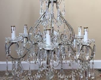 Magical Vintage ITALIAN Crystal Directoire Chandelier Macaroni Beaded 6 lights Spear Crystals