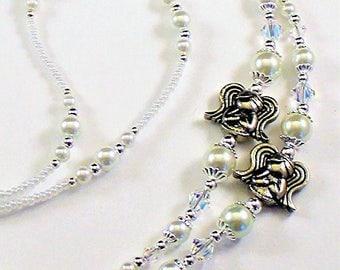 Beaded Lanyard~Silve Angels~Swarovski Crystal