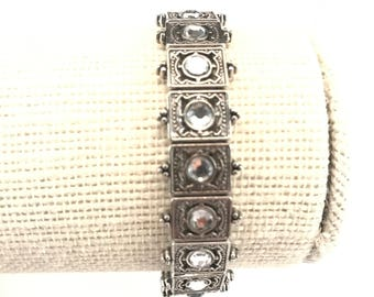 Stretch Bracelet~Antique Silver Toned Metal~Clear Rhinestones