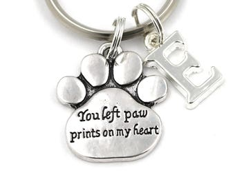 You Left Paw Prints On My Heart Key Ring, Personalized Memorial Keychain, Pet Loss Keyring, Initial Keychain, Remembrance Gift, Pet Sympathy