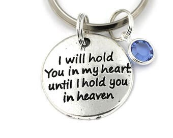 I Will Hold You In My Heart Until I Hold You In Heaven Key Ring, Memorial Keychain With Birthstone Or Pearl, Memory Gift Keyring,Miscarriage
