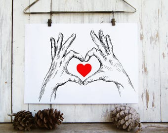 Valentines gift, Love heart hands sign Illustration, Red heart print, Printable wall art, Art & collectibles, Teen room decor, red heart