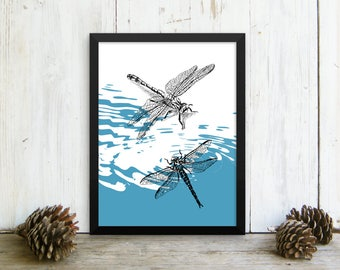 Dragonfly Print, Framed Dragonflies Poster, Bedroom Decor, Dragonflies Poster, Hipster Room Decor, Nature Wall Decor, Gift For Her