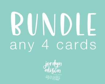 Bundle Card Set of 4 - A2 Greeting Cards, Bundle Card Deal, Bundle Any Cards