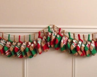 ADVENT GARLAND - 24 numbered hand knit stockings -