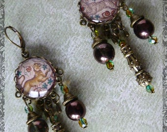 "Neoclassical ""mosaic"" illustrated, glass cabochon earrings bronze metal, iridescent Czech glass"