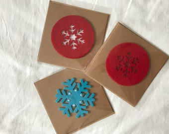 Three Felt Detail Christmas Cards