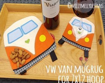7x12 hoop - VW van Mug-Rug - ITH - In The Hoop - Machine Embroidery Design File, digital download