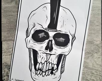 skull print, skeletons, Halloween decor, gothic decor, skulls, illustration, illustration print